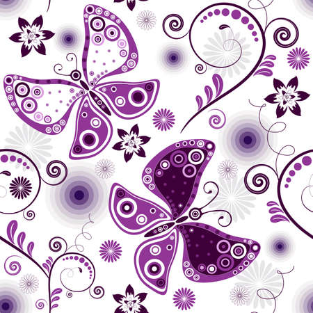 Repeating floral white pattern with violet flowers and butterflies Vector