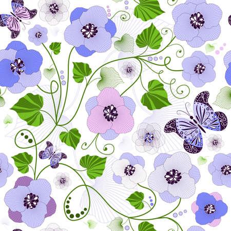 carve: Patr�n floral transparente con flores y mariposas (vector)