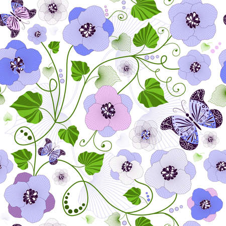 lilas: Seamless floral pattern with flowers and butterflies (vector)