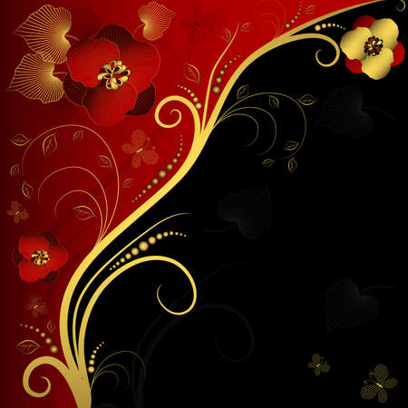 Red, black and golden floral frame with curls and butterflies (vector) Vector