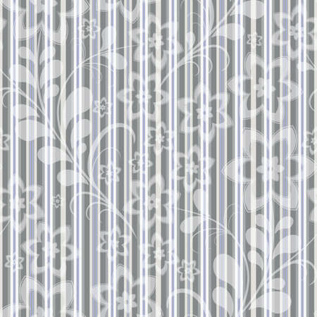 Seamless grey-blue striped pattern with white floral application (vector EPS 10) Vector