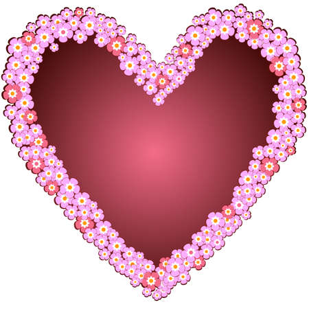 quivering: Decorative heart from pink flowers isolated on white background (vector)