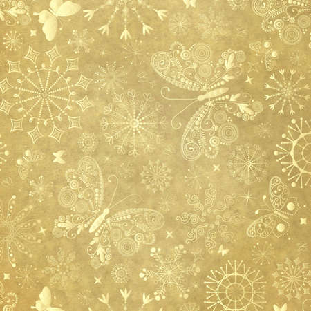scrap gold: Old yellow christmas paper with snowflakes and  butterflies