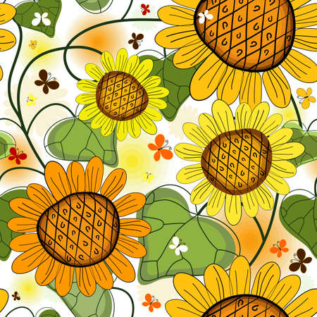 Repeating floral white summer pattern with sunflowers and butterflies Vector