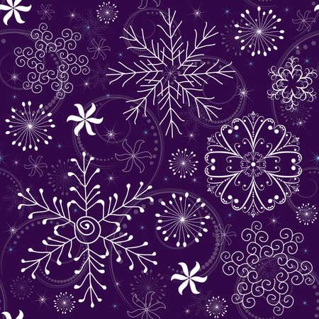 imposing: Pattern di Natale viola senza saldatura con fiocchi di neve bianco-blu