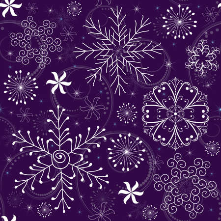 Seamless violet christmas pattern with white-blue snowflakes Illustration