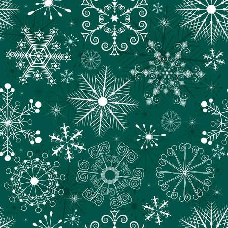 imposing: Pattern di Natale verde senza saldatura con fiocchi di neve bianche