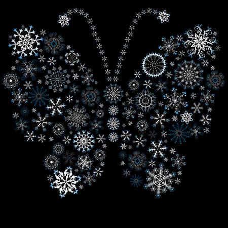 imposing: Blu-bianco Natale fiocco di neve-farfalla  Vettoriali