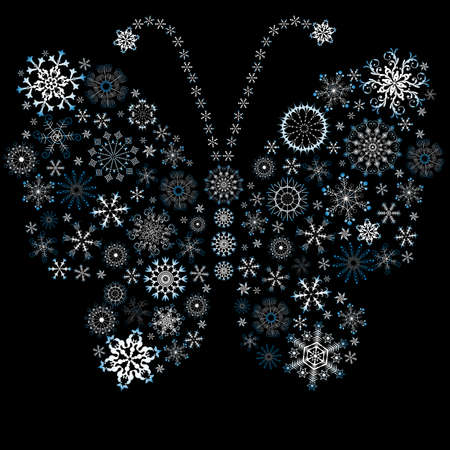 White-blue christmas snowflake-butterfly Vector