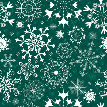 Christmas Seamless green pattern with white and blue snowflakes Illustration