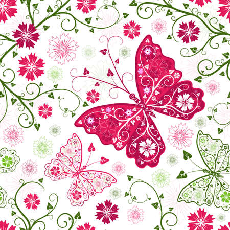 Seamless floral white pattern with flowers and butterflies Vector