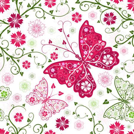 trabajo manual: Transparente patr�n blanco floral con flores y mariposas  Vectores