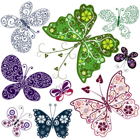lilas: Set abstract butterflies for design on white Illustration