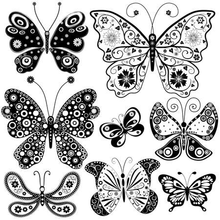 handwork: Collection black and white butterflies for design Illustration