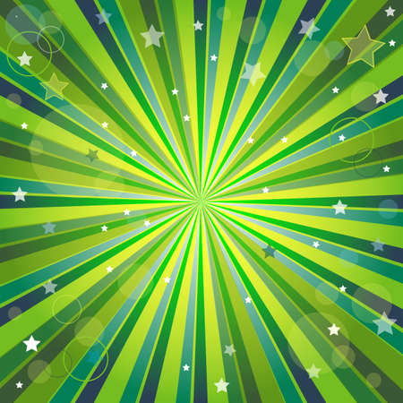Abstract green and yellow background with rays, stars and balls (eps10) Illustration