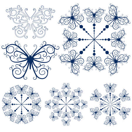 butterfly tattoo: Collection blue snowflakes and butterflies isolated on white (vector)