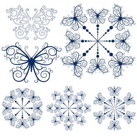 butterfly tattoo: Copos de nieve de colecci�n azul y mariposas aisladas en blanco (vector)  Vectores