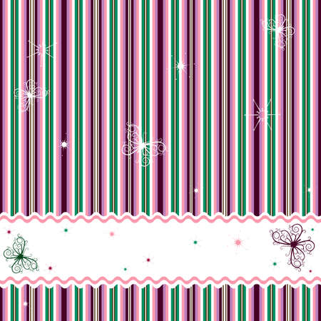 violet red: Striped background with white frame and butterflies (vector)