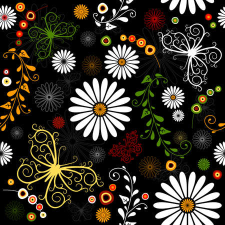 green and black: Repeating floral black pattern with flowers and butterflies(vector)