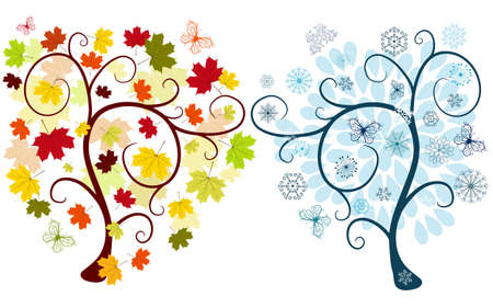 Set of abstract  autumn and winter trees on a white background for design (vector) Stock Vector - 7788856