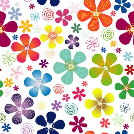 trabajo manual: Blanco patr�n floral transparente con flores v�vidas (vector)