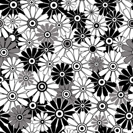 White, grey and black  repeating floral pattern with lily flowers (vector) Vector