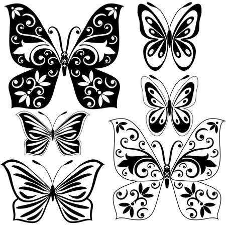 Set black and white vintage butterflies for design isolated on white (vector) Vector