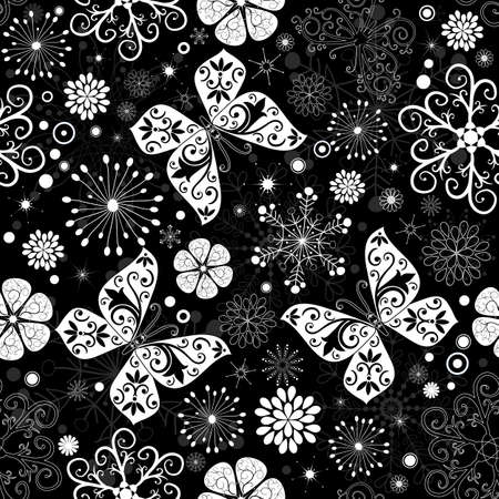 imposing: Seamless black-white christmas graphic pattern with snowflakes, flowers and butterflies (vector)