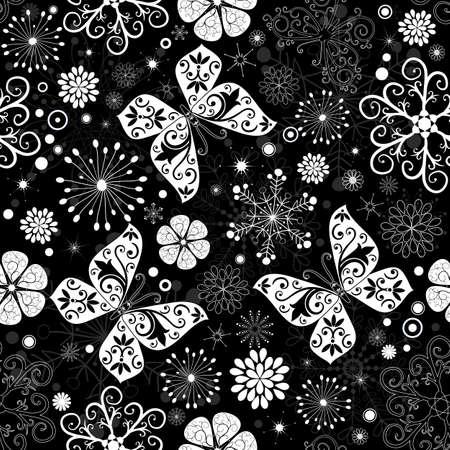 imposing: Seamless nero-bianco Natale grafica pattern con fiocchi di neve, fiori e farfalle (vettoriale)