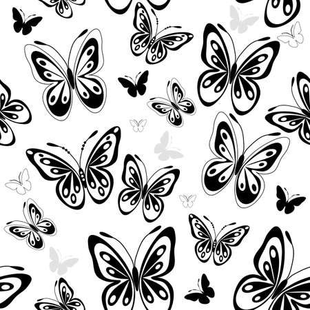 black butterfly: Repeating white-black pattern with silhouettes butterflies (vector) Illustration