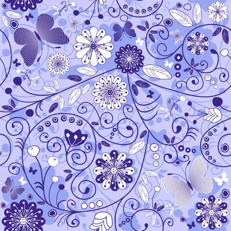 Seamless floral violet-blue pattern with flowers and mosaic butterflies (vector) Vector