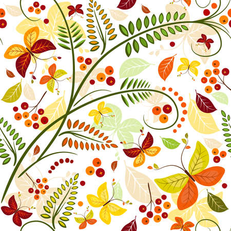 Floral seamless autumn pattern with butterflies and colorful leaves (vector) Stock Vector - 7788639
