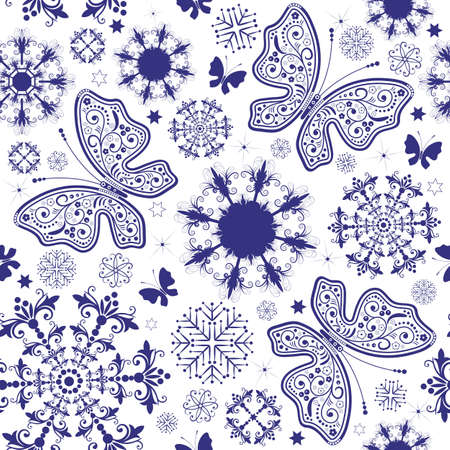 handwork: Seamless white-violet christmas wallpaper with snowflakes and butterflies (vector)