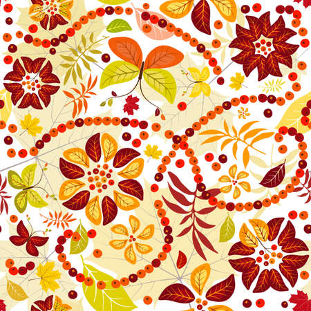 Autumn seamless  pattern with colorful leaves, flowers and butterflies  (vector) Vector