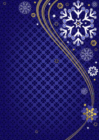 Dark blue christmas frame with wave and snowflakes and stars (vector) Vector