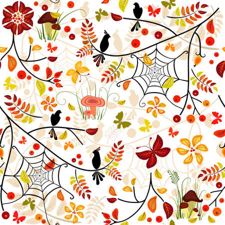 Autumn seamless pattern with colorful leaves, bird and butterflies (vector) Vector