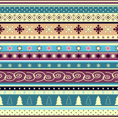 repeating pattern: Seamless striped christmas wallpaper with application (vector) Illustration