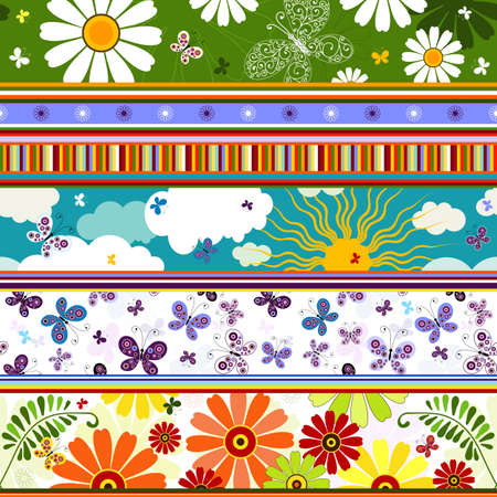 Seamless striped vivid summer pattern with application   Vector