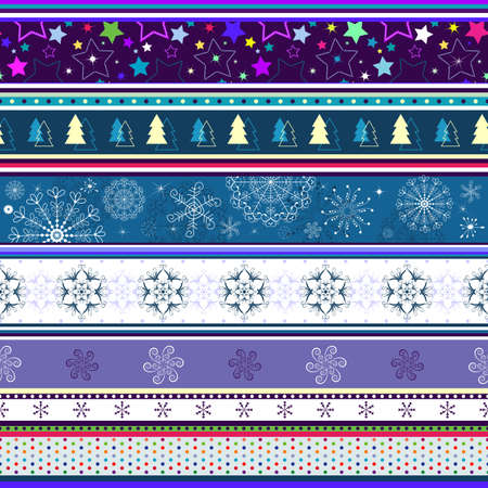 Seamless striped christmas wallpaper with stars and snowflakes  Vector