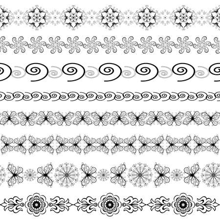 Black and white seamless borders   Vector