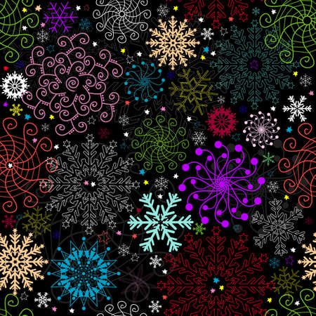 Repeating dark christmas pattern with colorful snowflakes   Vector