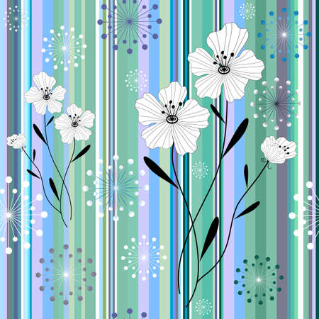 Seamless white-green-grey-blue striped pattern with floral application Illusztráció