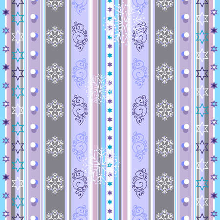 Seamless violet-white-blue striped christmas pattern with snowflakes Vector