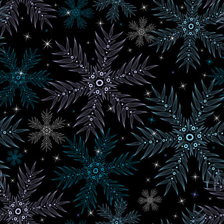 Dark christmas seamless pattern with pastel snowflakes