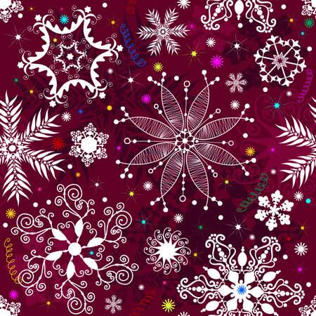 effortless: Patr�n de Navidad de p�rpura transparente con copos de nieve y estrellas coloridos  Vectores