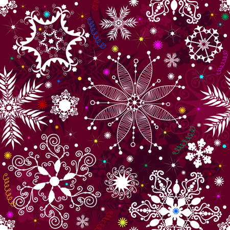 Seamless purple christmas pattern with snowflakes and colorful stars Vector