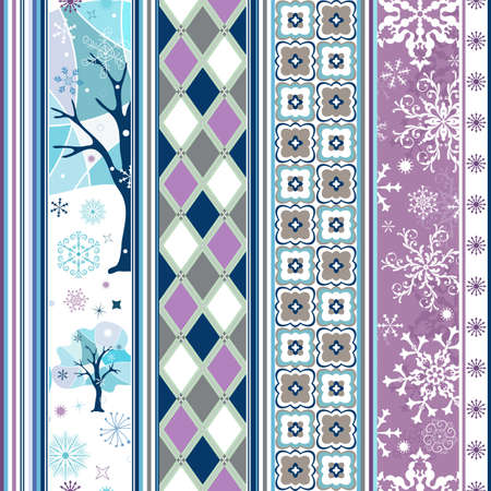 Seamless striped christmas border with snowflakes and geometric ornaments Vector