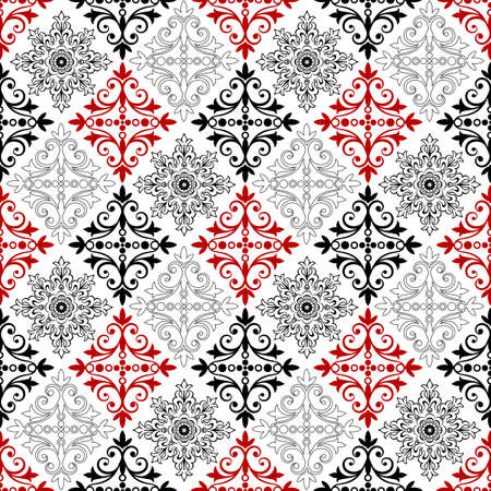 rhombus: White and red-black vintage seamless ornament