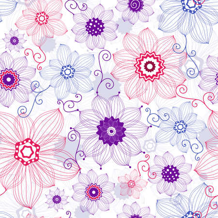 Seamless white floral pattern with red, violet and blue flowers (vector) Illustration