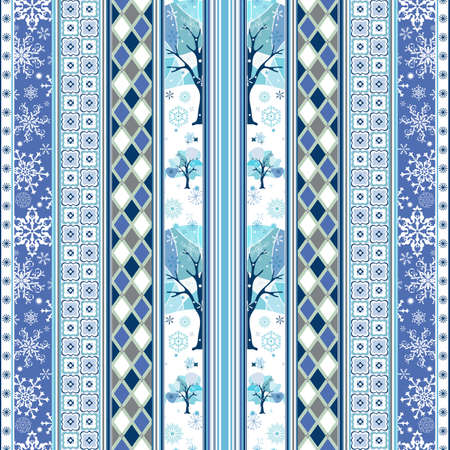 ornaments vector: Repeating striped christmas white-blue wallpaper with snowflakes and geometric ornaments (vector) Illustration